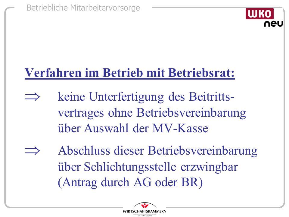 Betriebliche Mitarbeitervorsorge Verfahren im Betrieb mit Betriebsrat: keine Unterfertigung des Beitritts- vertrages ohne Betriebsvereinbarung über Au