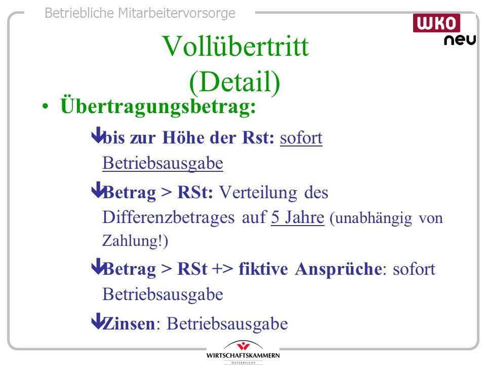 Betriebliche Mitarbeitervorsorge Vollübertritt (Detail) Übertragungsbetrag: êbis zur Höhe der Rst: sofort Betriebsausgabe êBetrag > RSt: Verteilung de
