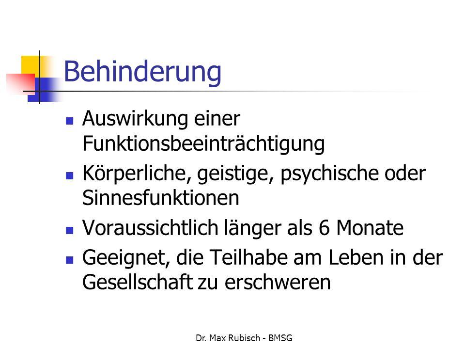 Dr. Max Rubisch - BMSG Behinderung Auswirkung einer Funktionsbeeinträchtigung Körperliche, geistige, psychische oder Sinnesfunktionen Voraussichtlich