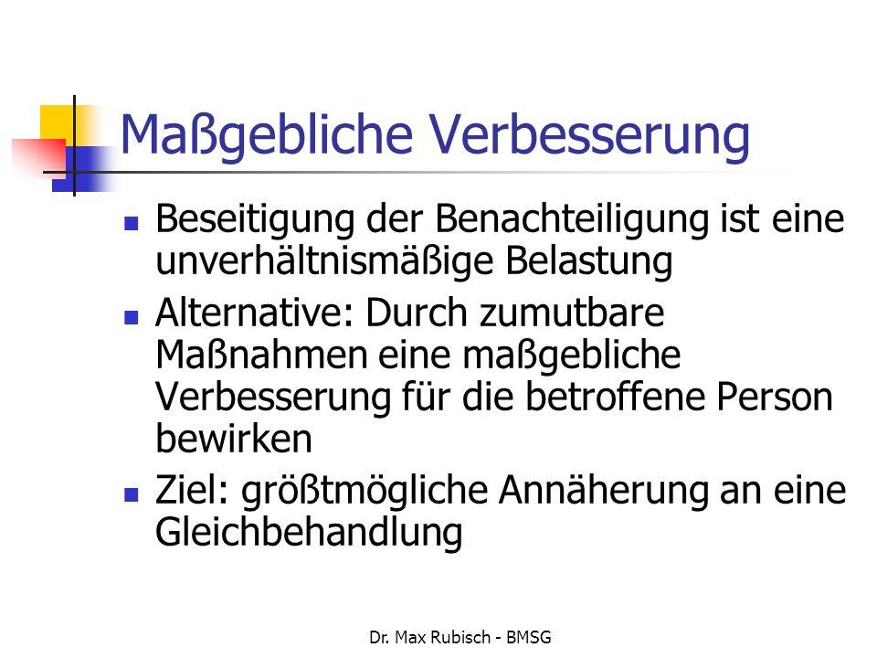 Dr. Max Rubisch - BMSG Maßgebliche Verbesserung Beseitigung der Benachteiligung ist eine unverhältnismäßige Belastung Alternative: Durch zumutbare Maß