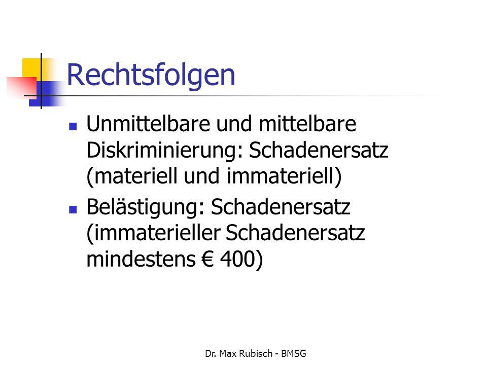 Dr. Max Rubisch - BMSG Rechtsfolgen Unmittelbare und mittelbare Diskriminierung: Schadenersatz (materiell und immateriell) Belästigung: Schadenersatz