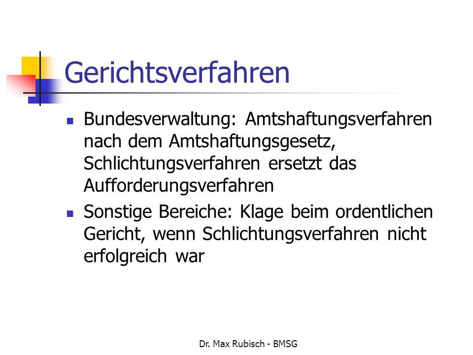 Dr. Max Rubisch - BMSG Gerichtsverfahren Bundesverwaltung: Amtshaftungsverfahren nach dem Amtshaftungsgesetz, Schlichtungsverfahren ersetzt das Auffor