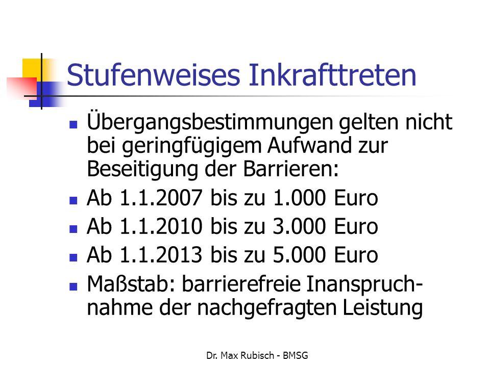 Dr. Max Rubisch - BMSG Stufenweises Inkrafttreten Übergangsbestimmungen gelten nicht bei geringfügigem Aufwand zur Beseitigung der Barrieren: Ab 1.1.2