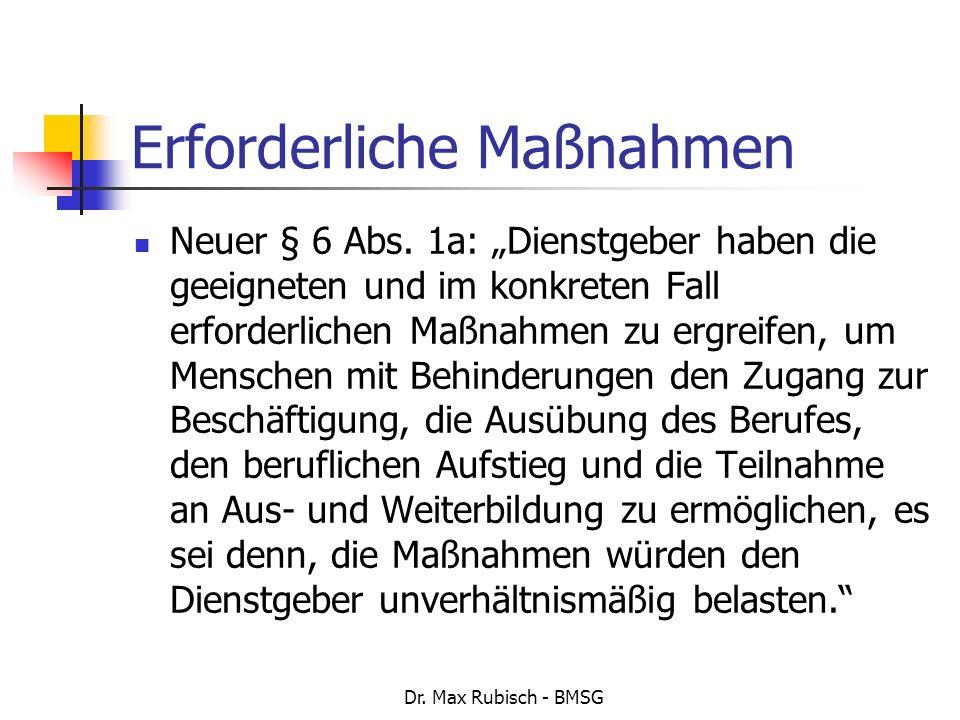 Dr. Max Rubisch - BMSG Erforderliche Maßnahmen Neuer § 6 Abs. 1a: Dienstgeber haben die geeigneten und im konkreten Fall erforderlichen Maßnahmen zu e