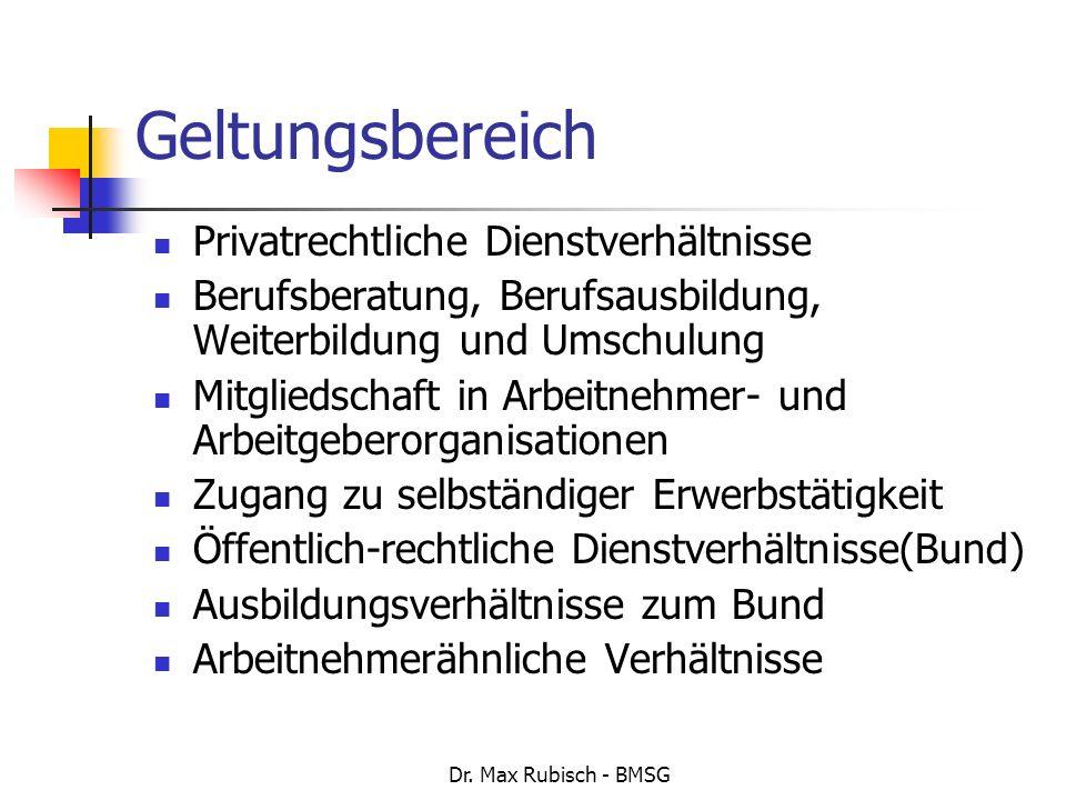 Dr. Max Rubisch - BMSG Geltungsbereich Privatrechtliche Dienstverhältnisse Berufsberatung, Berufsausbildung, Weiterbildung und Umschulung Mitgliedscha