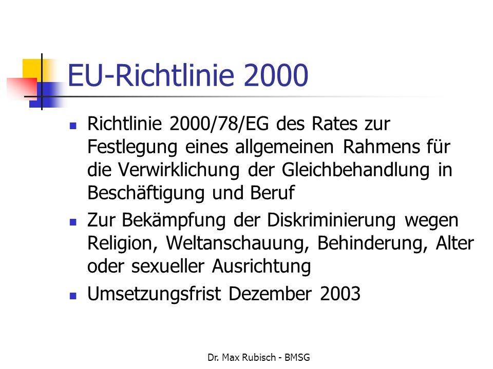 Dr. Max Rubisch - BMSG EU-Richtlinie 2000 Richtlinie 2000/78/EG des Rates zur Festlegung eines allgemeinen Rahmens für die Verwirklichung der Gleichbe