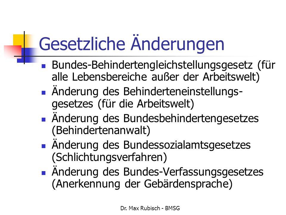 Dr. Max Rubisch - BMSG Bundes-Behindertengleichstellungsgesetz (für alle Lebensbereiche außer der Arbeitswelt) Änderung des Behinderteneinstellungs- g