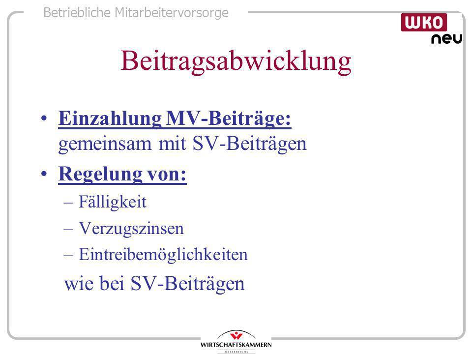 Betriebliche Mitarbeitervorsorge Beitragsabwicklung Einzahlung MV-Beiträge: gemeinsam mit SV-Beiträgen Regelung von: –Fälligkeit –Verzugszinsen –Eintr