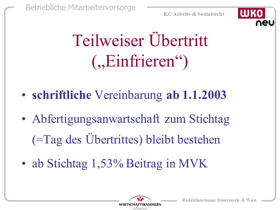 Betriebliche Mitarbeitervorsorge KC Arbeits-& Sozialrecht Redaktionsteams Steiermark & Wien Teilweiser Übertritt (Einfrieren) schriftliche Vereinbarung ab 1.1.2003 Abfertigungsanwartschaft zum Stichtag (=Tag des Übertrittes) bleibt bestehen ab Stichtag 1,53% Beitrag in MVK