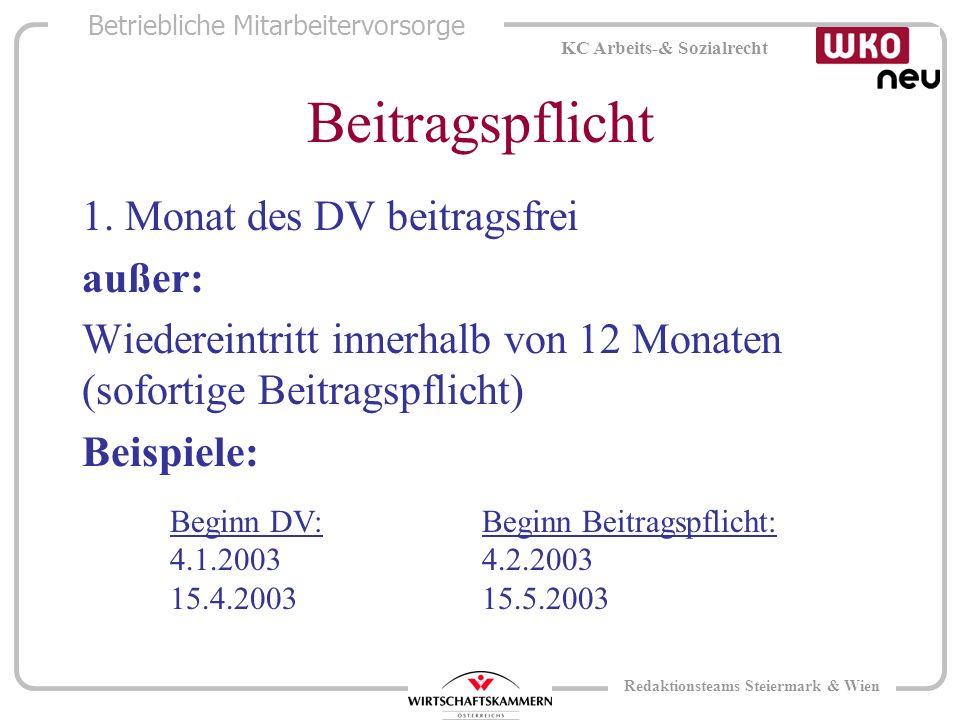 Betriebliche Mitarbeitervorsorge KC Arbeits-& Sozialrecht Redaktionsteams Steiermark & Wien Beitragspflicht 1.