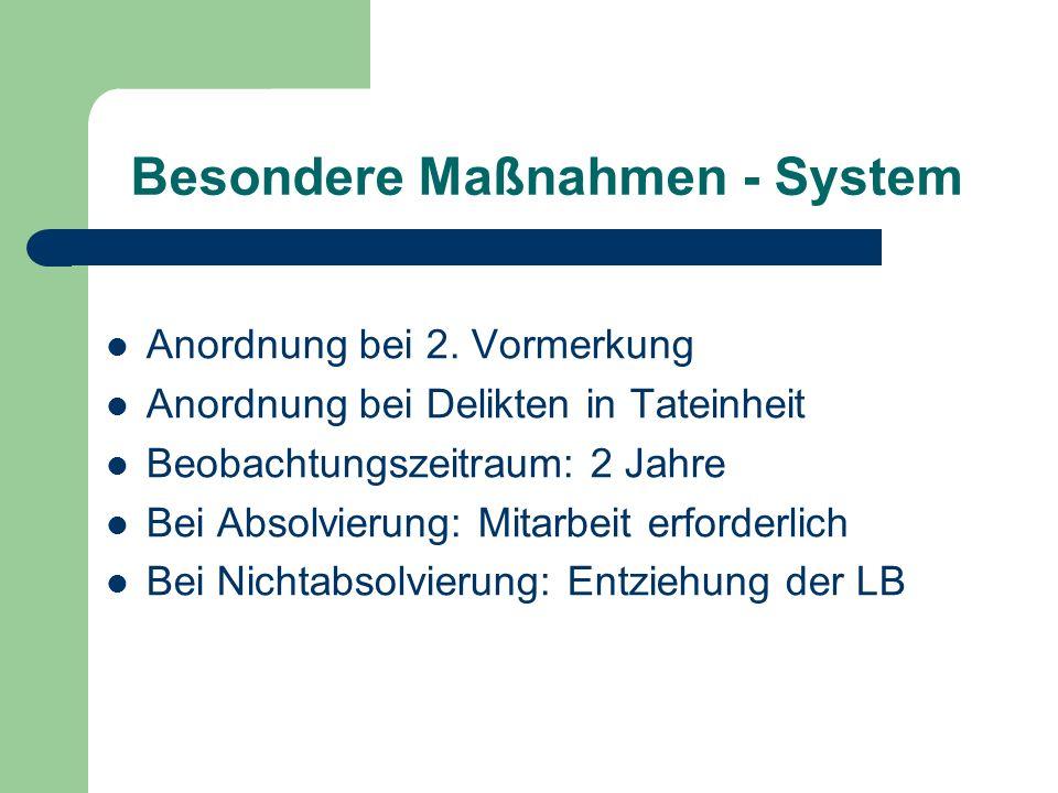 Besondere Maßnahmen - System Anordnung bei 2. Vormerkung Anordnung bei Delikten in Tateinheit Beobachtungszeitraum: 2 Jahre Bei Absolvierung: Mitarbei