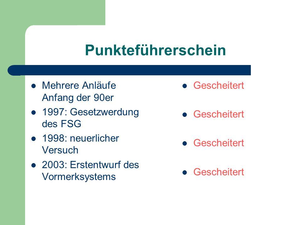 Punkteführerschein Mehrere Anläufe Anfang der 90er 1997: Gesetzwerdung des FSG 1998: neuerlicher Versuch 2003: Erstentwurf des Vormerksystems Gescheit