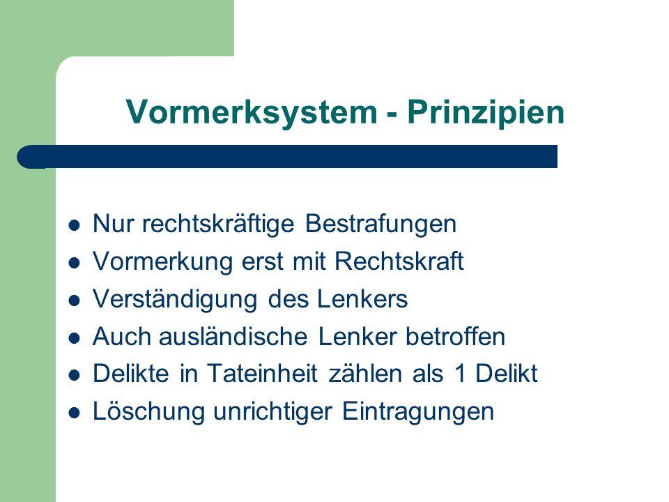 Vormerksystem - Prinzipien Nur rechtskräftige Bestrafungen Vormerkung erst mit Rechtskraft Verständigung des Lenkers Auch ausländische Lenker betroffe