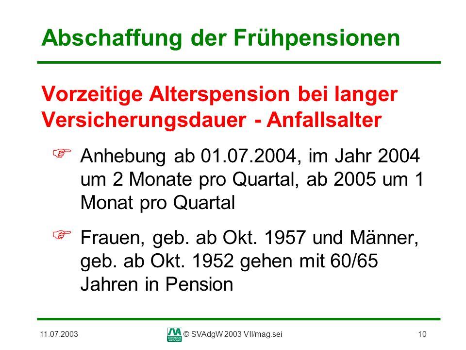 11.07.2003© SVAdgW 2003 VII/mag.sei10 Abschaffung der Frühpensionen Vorzeitige Alterspension bei langer Versicherungsdauer - Anfallsalter Anhebung ab