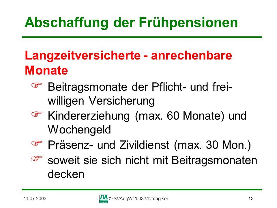 11.07.2003© SVAdgW 2003 VII/mag.sei13 Abschaffung der Frühpensionen Langzeitversicherte - anrechenbare Monate Beitragsmonate der Pflicht- und frei- wi