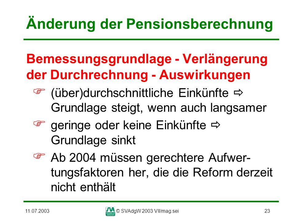 11.07.2003© SVAdgW 2003 VII/mag.sei23 Änderung der Pensionsberechnung Bemessungsgrundlage - Verlängerung der Durchrechnung - Auswirkungen (über)durchs