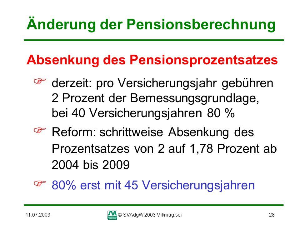 11.07.2003© SVAdgW 2003 VII/mag.sei28 Änderung der Pensionsberechnung Absenkung des Pensionsprozentsatzes derzeit: pro Versicherungsjahr gebühren 2 Pr