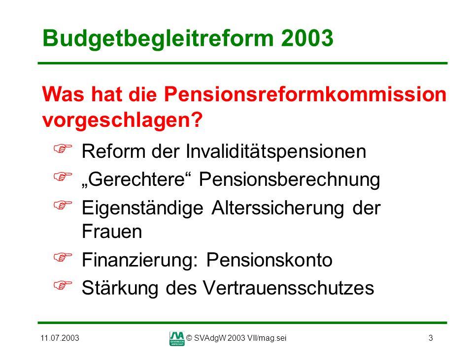11.07.2003© SVAdgW 2003 VII/mag.sei4 Pensionsreform 2003 - Maßnahmen Abschaffung der Frühpensionen Änderung der Pensionsberechnung Verlängerte Durchrechnung neue Pensionsberechnungs- formel Pensionsanpassung Anrechnung von Versicherungs- zeiten