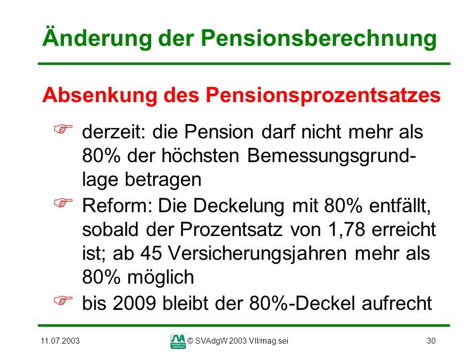 11.07.2003© SVAdgW 2003 VII/mag.sei30 Änderung der Pensionsberechnung Absenkung des Pensionsprozentsatzes derzeit: die Pension darf nicht mehr als 80%