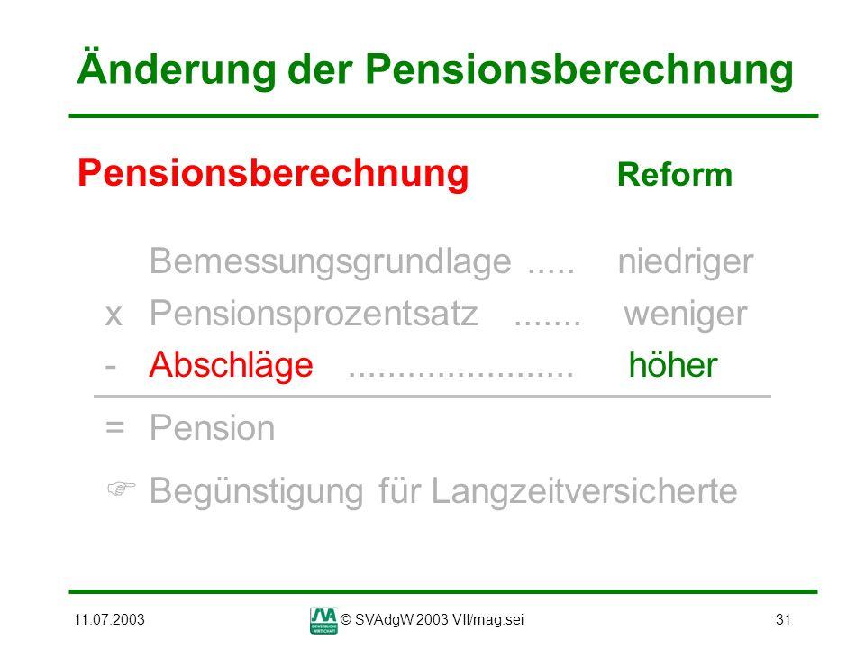 11.07.2003© SVAdgW 2003 VII/mag.sei31 Änderung der Pensionsberechnung Pensionsberechnung Reform Bemessungsgrundlage..... niedriger xPensionsprozentsat