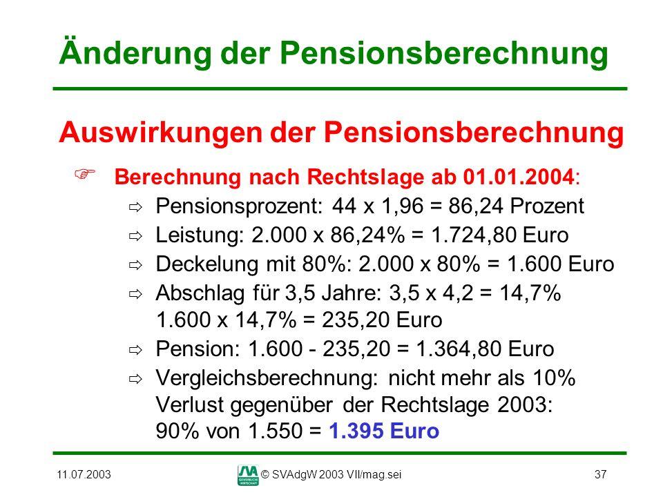 11.07.2003© SVAdgW 2003 VII/mag.sei37 Änderung der Pensionsberechnung Auswirkungen der Pensionsberechnung Berechnung nach Rechtslage ab 01.01.2004: Pe