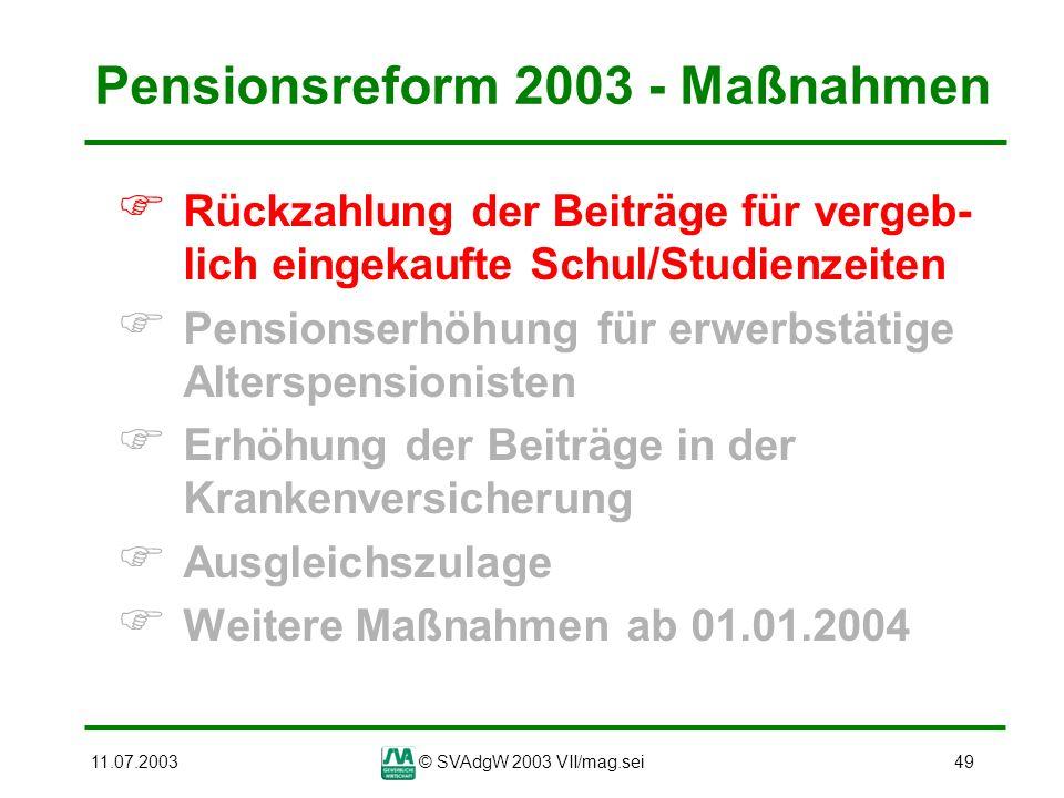 11.07.2003© SVAdgW 2003 VII/mag.sei49 Pensionsreform 2003 - Maßnahmen Rückzahlung der Beiträge für vergeb- lich eingekaufte Schul/Studienzeiten Pensio