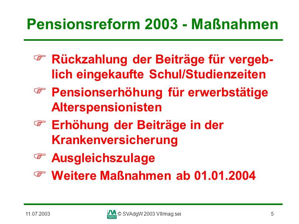 11.07.2003© SVAdgW 2003 VII/mag.sei36 Änderung der Pensionsberechnung Auswirkungen der Pensionsberechnung Beispiel: Mann, 44 Versicherungsjahre, Pensions- antritt mit 61,5 Jahren, Bemessungsgrundlage 2.000 Euro Berechnung nach derzeit geltender Rechtslage: 44 x 2 = 88 Steigerungspunkte Abschlag für 3,5 Jahre: 3,5 x 3 = 10,5 Steigerungspunkte 88 - 10,5 = 77,5 Pensionsprozent Pension: 2.000 x 77,5% = 1.550 Euro