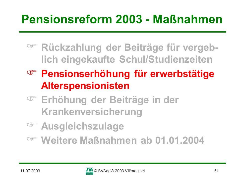 11.07.2003© SVAdgW 2003 VII/mag.sei51 Pensionsreform 2003 - Maßnahmen Rückzahlung der Beiträge für vergeb- lich eingekaufte Schul/Studienzeiten Pensio