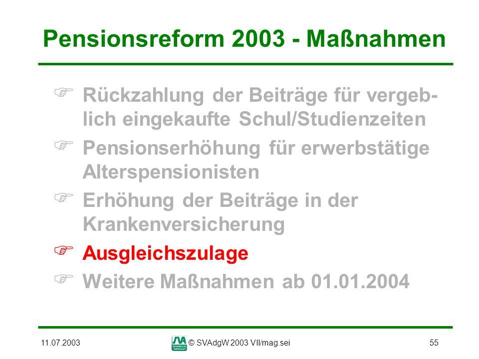 11.07.2003© SVAdgW 2003 VII/mag.sei55 Pensionsreform 2003 - Maßnahmen Rückzahlung der Beiträge für vergeb- lich eingekaufte Schul/Studienzeiten Pensio