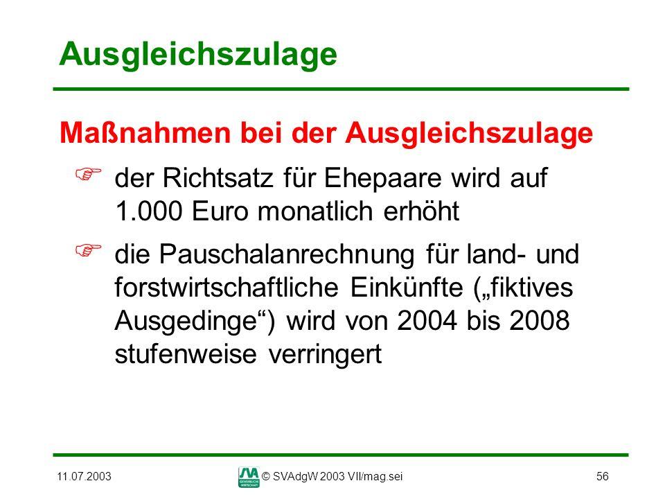11.07.2003© SVAdgW 2003 VII/mag.sei56 Ausgleichszulage Maßnahmen bei der Ausgleichszulage der Richtsatz für Ehepaare wird auf 1.000 Euro monatlich erh