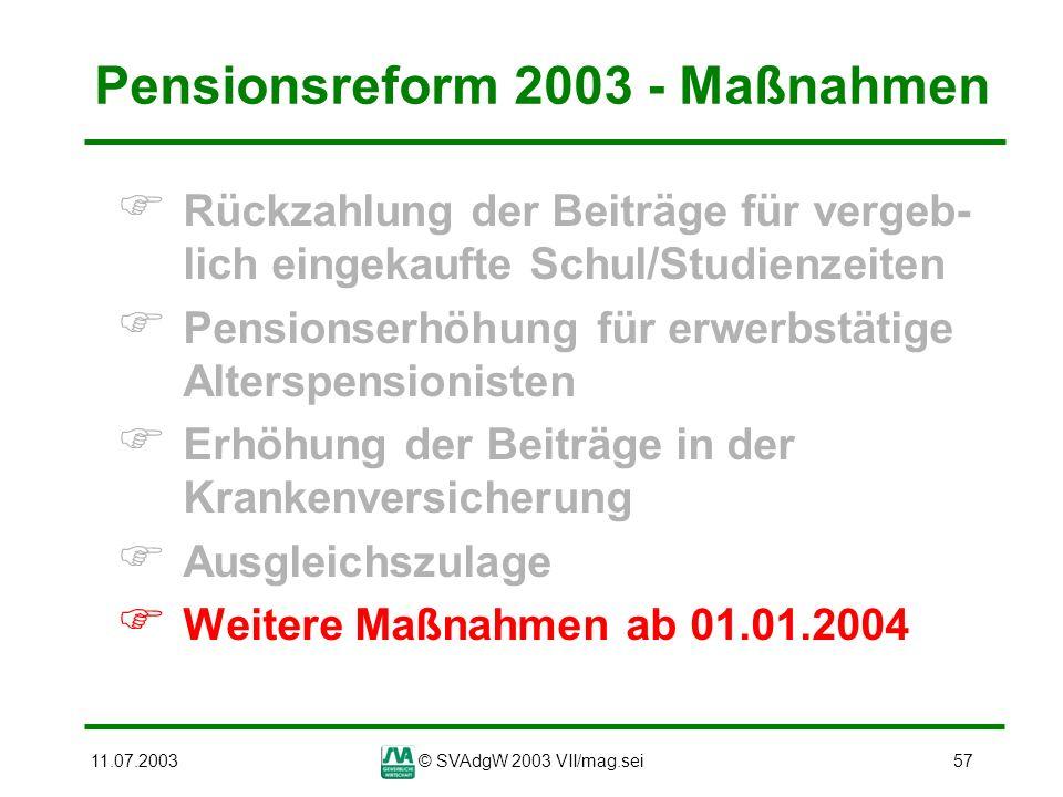 11.07.2003© SVAdgW 2003 VII/mag.sei57 Pensionsreform 2003 - Maßnahmen Rückzahlung der Beiträge für vergeb- lich eingekaufte Schul/Studienzeiten Pensio