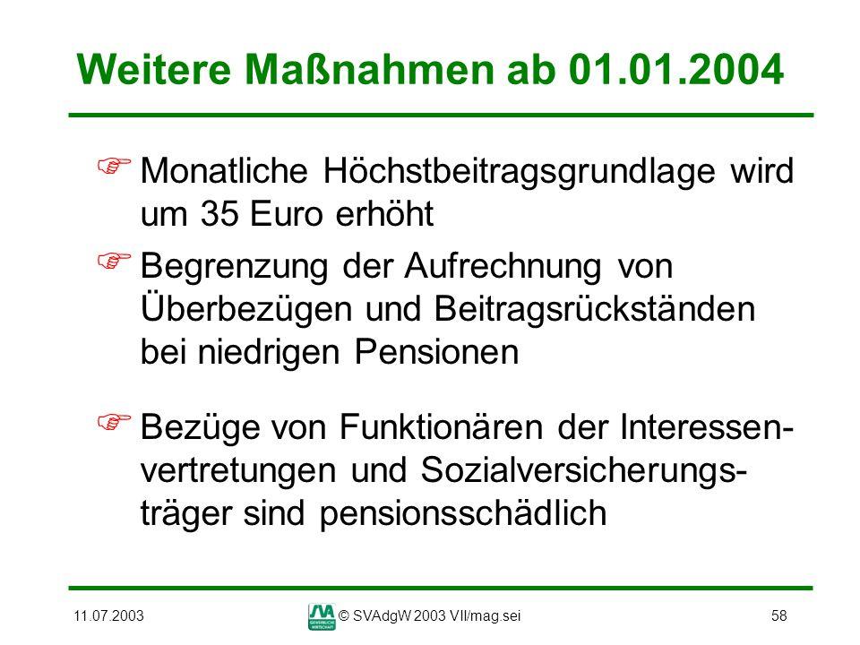 11.07.2003© SVAdgW 2003 VII/mag.sei58 Weitere Maßnahmen ab 01.01.2004 Monatliche Höchstbeitragsgrundlage wird um 35 Euro erhöht Begrenzung der Aufrech