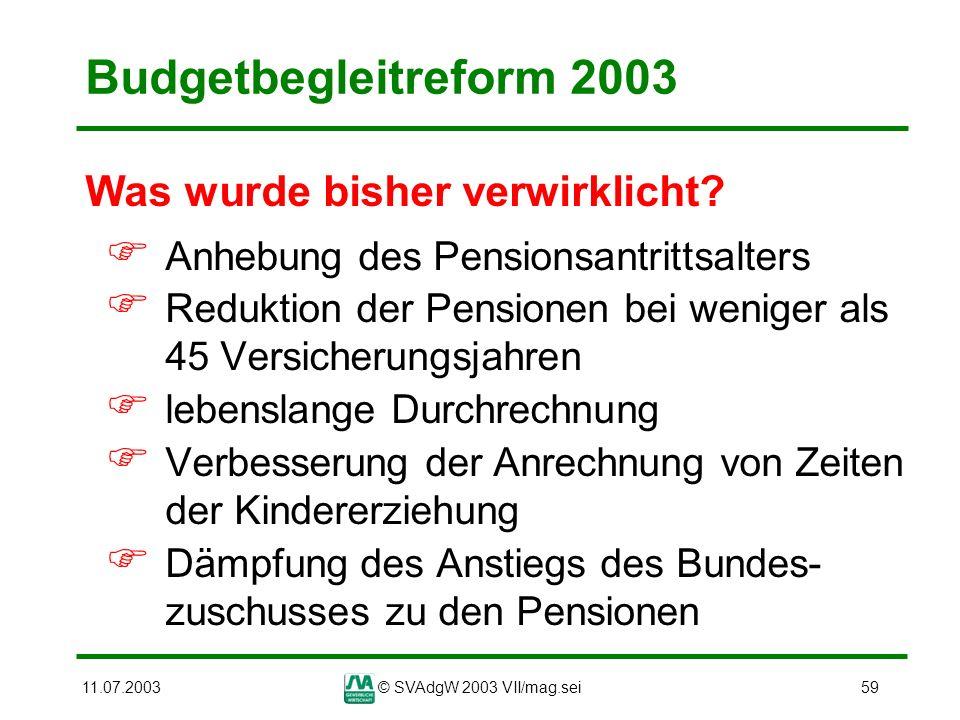 11.07.2003© SVAdgW 2003 VII/mag.sei59 Budgetbegleitreform 2003 Was wurde bisher verwirklicht? Anhebung des Pensionsantrittsalters Reduktion der Pensio