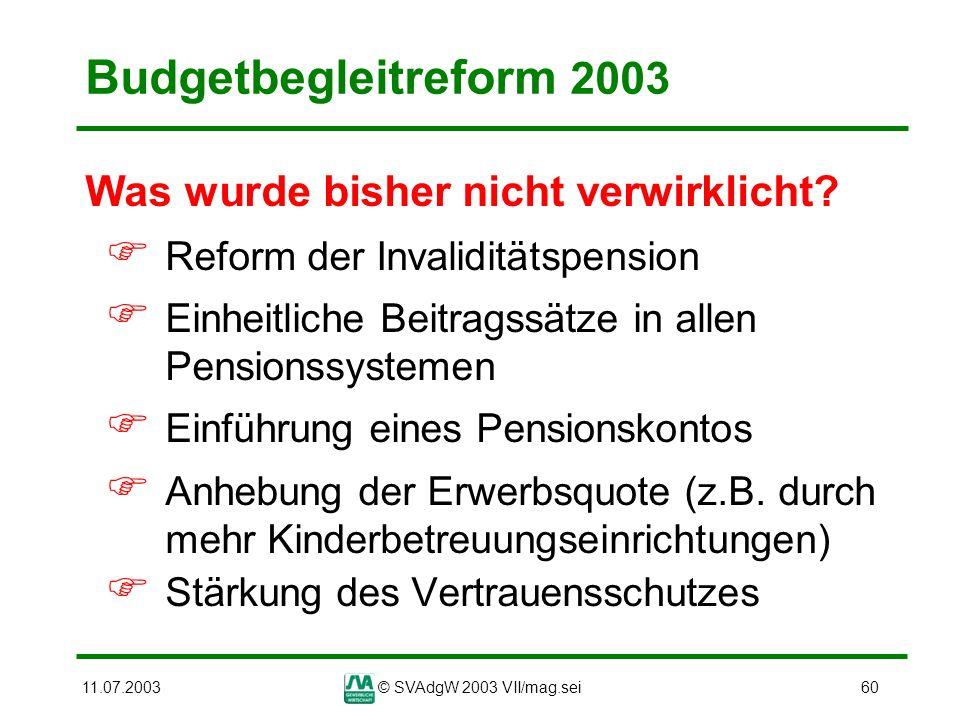 11.07.2003© SVAdgW 2003 VII/mag.sei60 Budgetbegleitreform 2003 Was wurde bisher nicht verwirklicht? Reform der Invaliditätspension Einheitliche Beitra