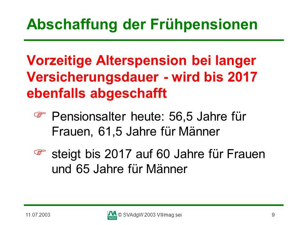 11.07.2003© SVAdgW 2003 VII/mag.sei30 Änderung der Pensionsberechnung Absenkung des Pensionsprozentsatzes derzeit: die Pension darf nicht mehr als 80% der höchsten Bemessungsgrund- lage betragen Reform: Die Deckelung mit 80% entfällt, sobald der Prozentsatz von 1,78 erreicht ist; ab 45 Versicherungsjahren mehr als 80% möglich bis 2009 bleibt der 80%-Deckel aufrecht