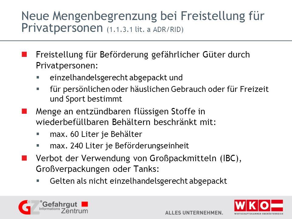 Neue Mengenbegrenzung bei Freistellung für Privatpersonen (1.1.3.1 lit.