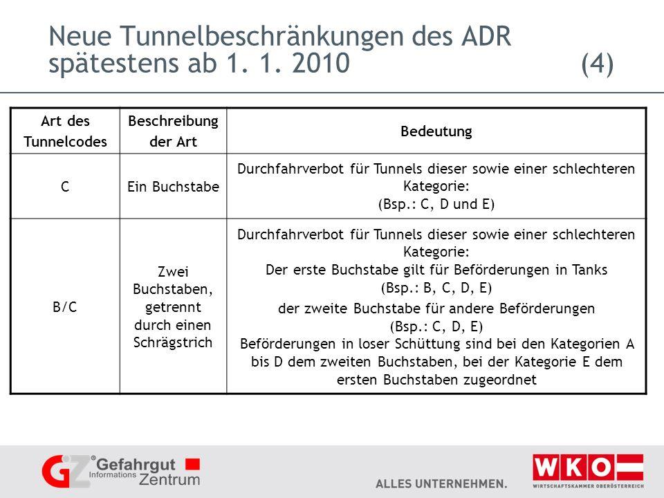 Neue Tunnelbeschränkungen des ADR spätestens ab 1.