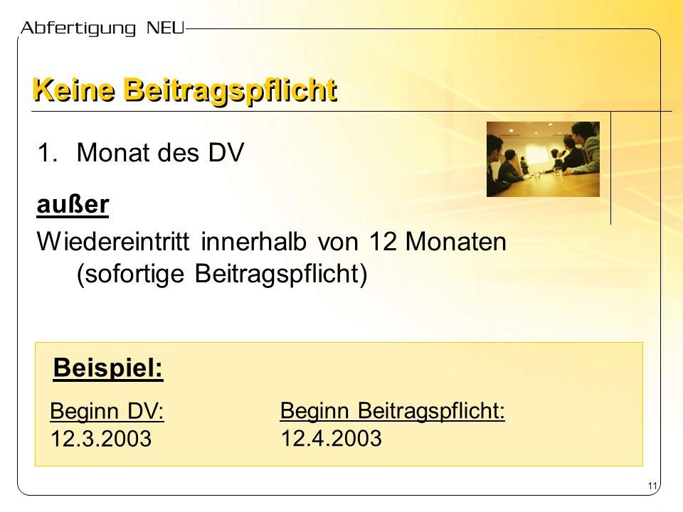 11 Keine Beitragspflicht 1.Monat des DV außer Wiedereintritt innerhalb von 12 Monaten (sofortige Beitragspflicht) Beginn DV: 12.3.2003 Beginn Beitrags