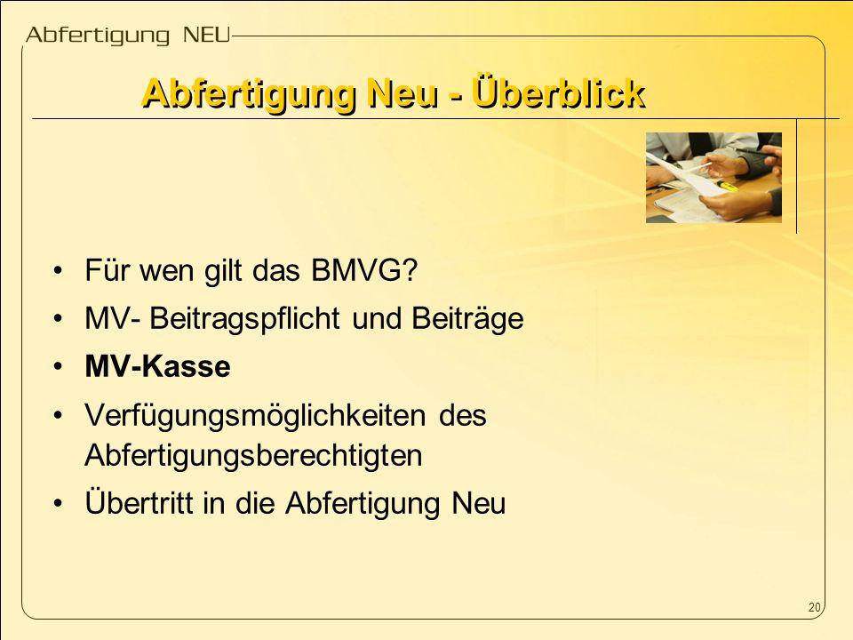 20 Für wen gilt das BMVG? MV- Beitragspflicht und Beiträge MV-Kasse Verfügungsmöglichkeiten des Abfertigungsberechtigten Übertritt in die Abfertigung