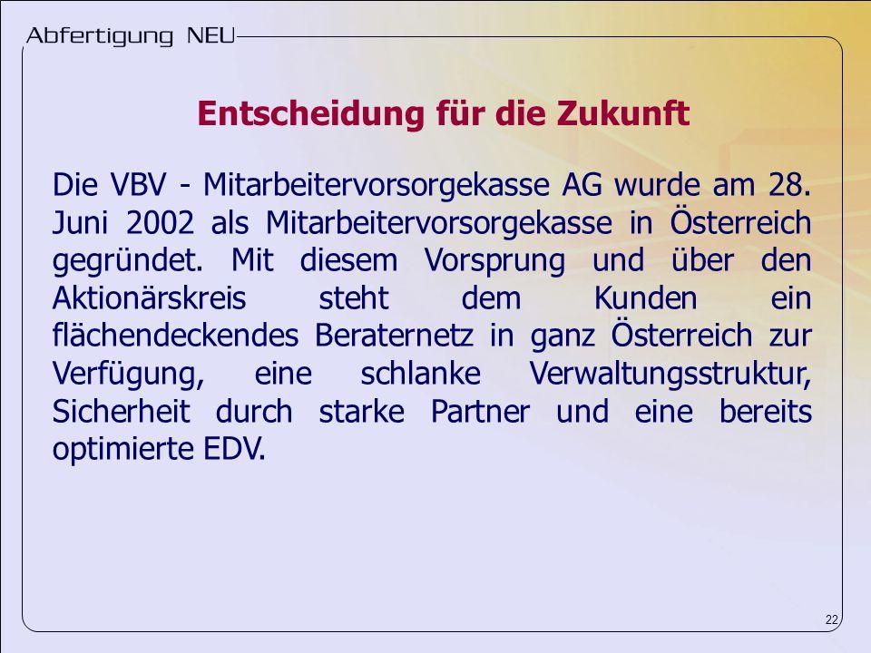 22 Die VBV - Mitarbeitervorsorgekasse AG wurde am 28. Juni 2002 als Mitarbeitervorsorgekasse in Österreich gegründet. Mit diesem Vorsprung und über de