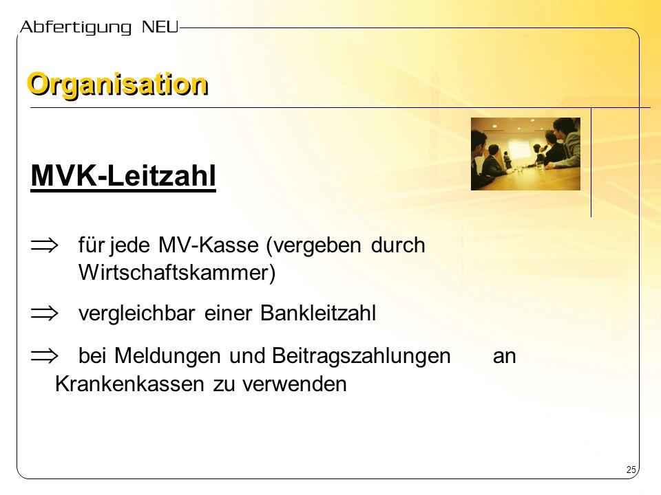 25 MVK-Leitzahl für jede MV-Kasse (vergeben durch Wirtschaftskammer) vergleichbar einer Bankleitzahl bei Meldungen und Beitragszahlungen an Krankenkas