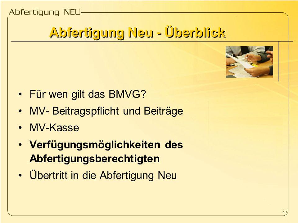 35 Für wen gilt das BMVG? MV- Beitragspflicht und Beiträge MV-Kasse Verfügungsmöglichkeiten des Abfertigungsberechtigten Übertritt in die Abfertigung