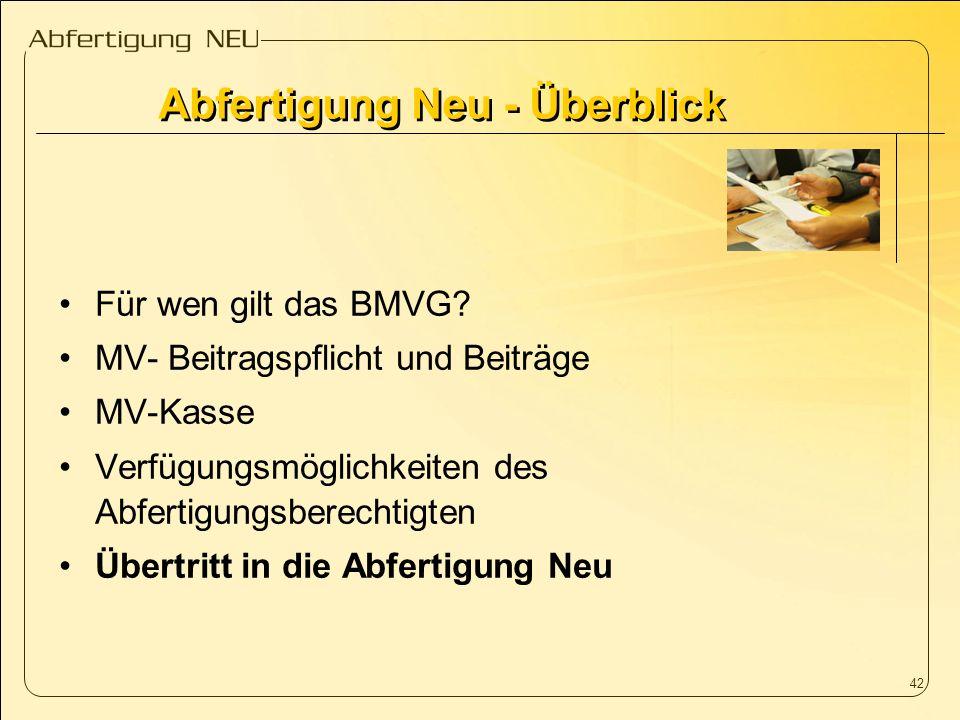 42 Für wen gilt das BMVG? MV- Beitragspflicht und Beiträge MV-Kasse Verfügungsmöglichkeiten des Abfertigungsberechtigten Übertritt in die Abfertigung