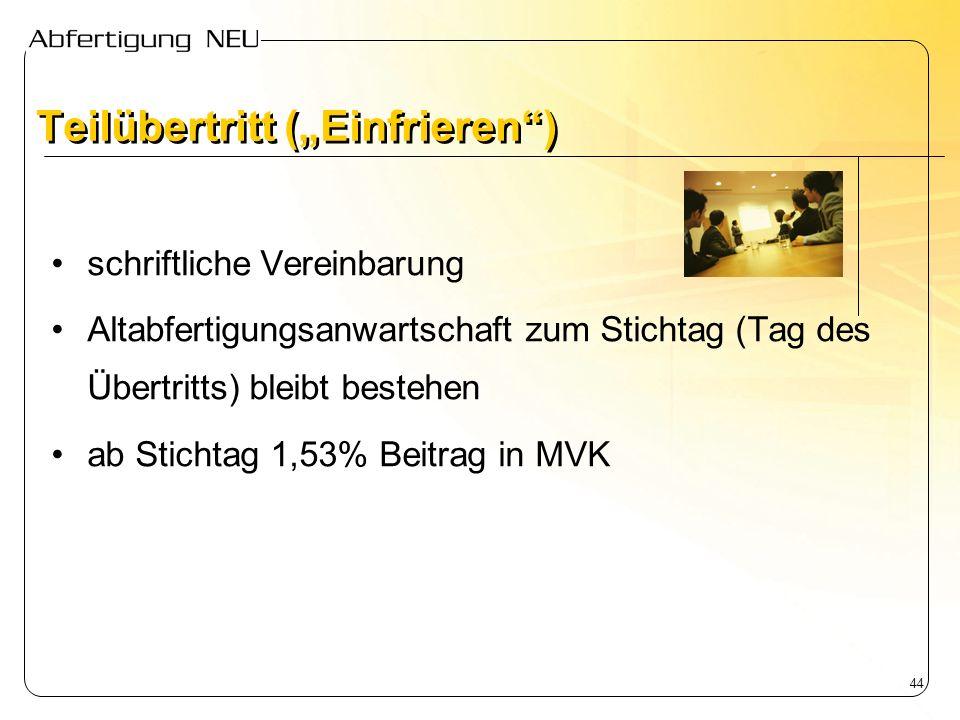 44 schriftliche Vereinbarung Altabfertigungsanwartschaft zum Stichtag (Tag des Übertritts) bleibt bestehen ab Stichtag 1,53% Beitrag in MVK Teilübertr