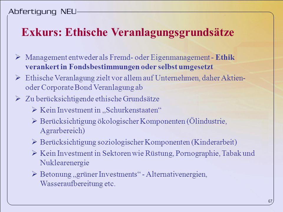 67 Management entweder als Fremd- oder Eigenmanagement - Ethik verankert in Fondsbestimmungen oder selbst umgesetzt Ethische Veranlagung zielt vor all