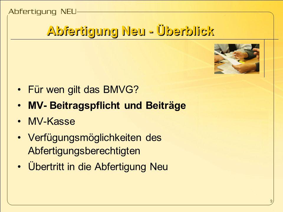 9 Für wen gilt das BMVG? MV- Beitragspflicht und Beiträge MV-Kasse Verfügungsmöglichkeiten des Abfertigungsberechtigten Übertritt in die Abfertigung N