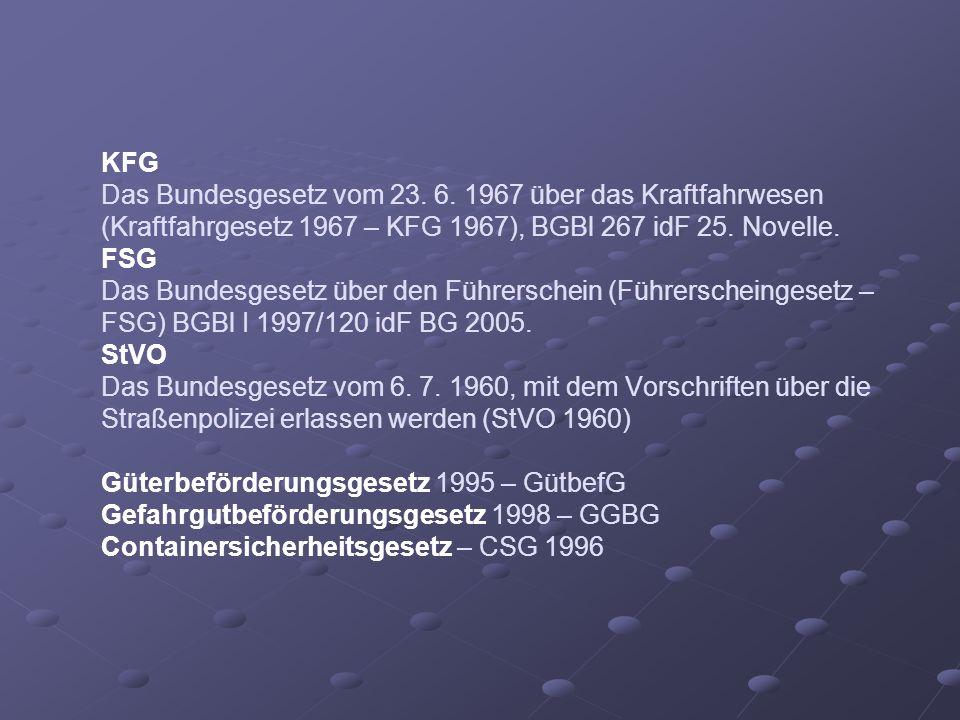 KFG Das Bundesgesetz vom 23. 6. 1967 über das Kraftfahrwesen (Kraftfahrgesetz 1967 – KFG 1967), BGBl 267 idF 25. Novelle. FSG Das Bundesgesetz über de