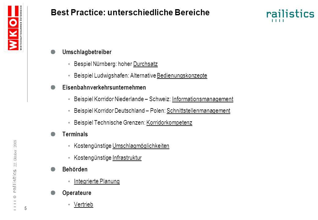 22. Oktober 2009 5 Best Practice: unterschiedliche Bereiche Umschlagbetreiber Bespiel Nürnberg: hoher Durchsatz Beispiel Ludwigshafen: Alternative Bed