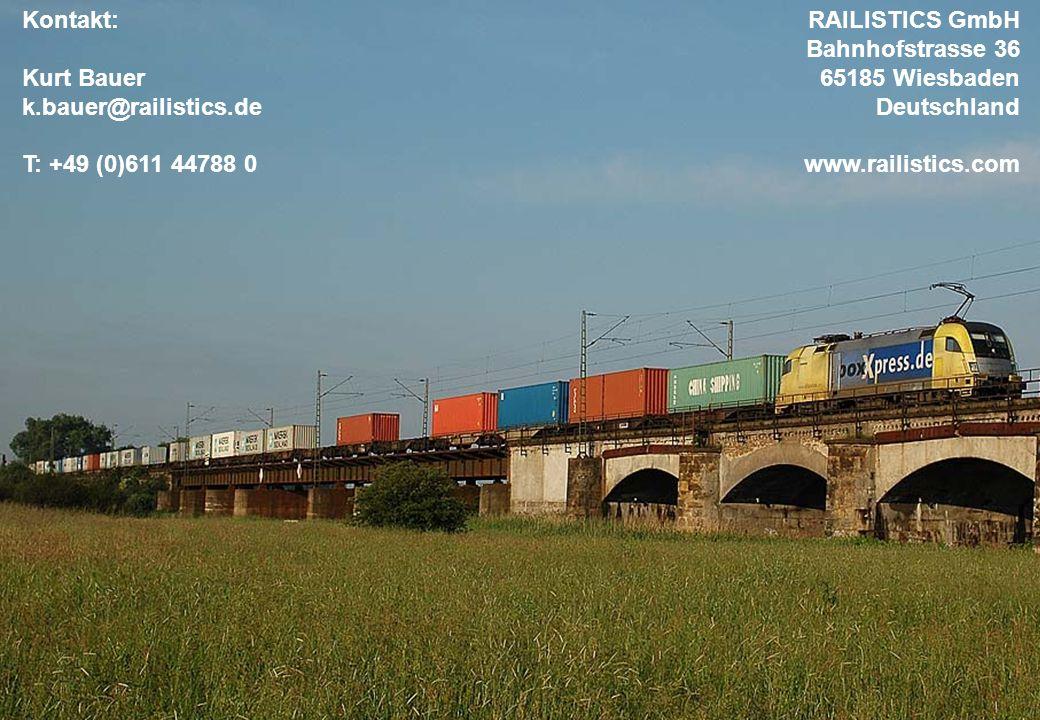 22. Oktober 2009 8 Kontakt: Kurt Bauer k.bauer@railistics.de T: +49 (0)611 44788 0 RAILISTICS GmbH Bahnhofstrasse 36 65185 Wiesbaden Deutschland www.r
