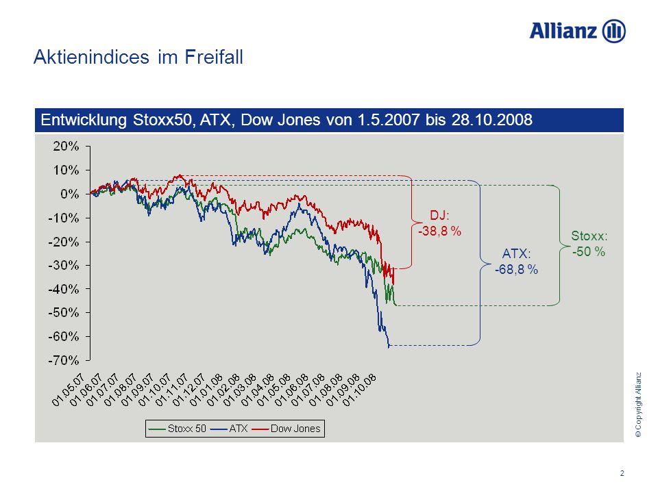 © Copyright Allianz 2 Aktienindices im Freifall Entwicklung Stoxx50, ATX, Dow Jones von 1.5.2007 bis 28.10.2008 DJ: -38,8 % ATX: -68,8 % Stoxx: -50 %